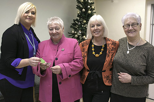 Luke Senior Hall Community Centre handover. Beyond Housing Programme Manager Tanya Spedding (left) hands over the Luke Senior Hall keys to (from 2nd left).. Kath Cornes, Heather Temple and Eileen Found.