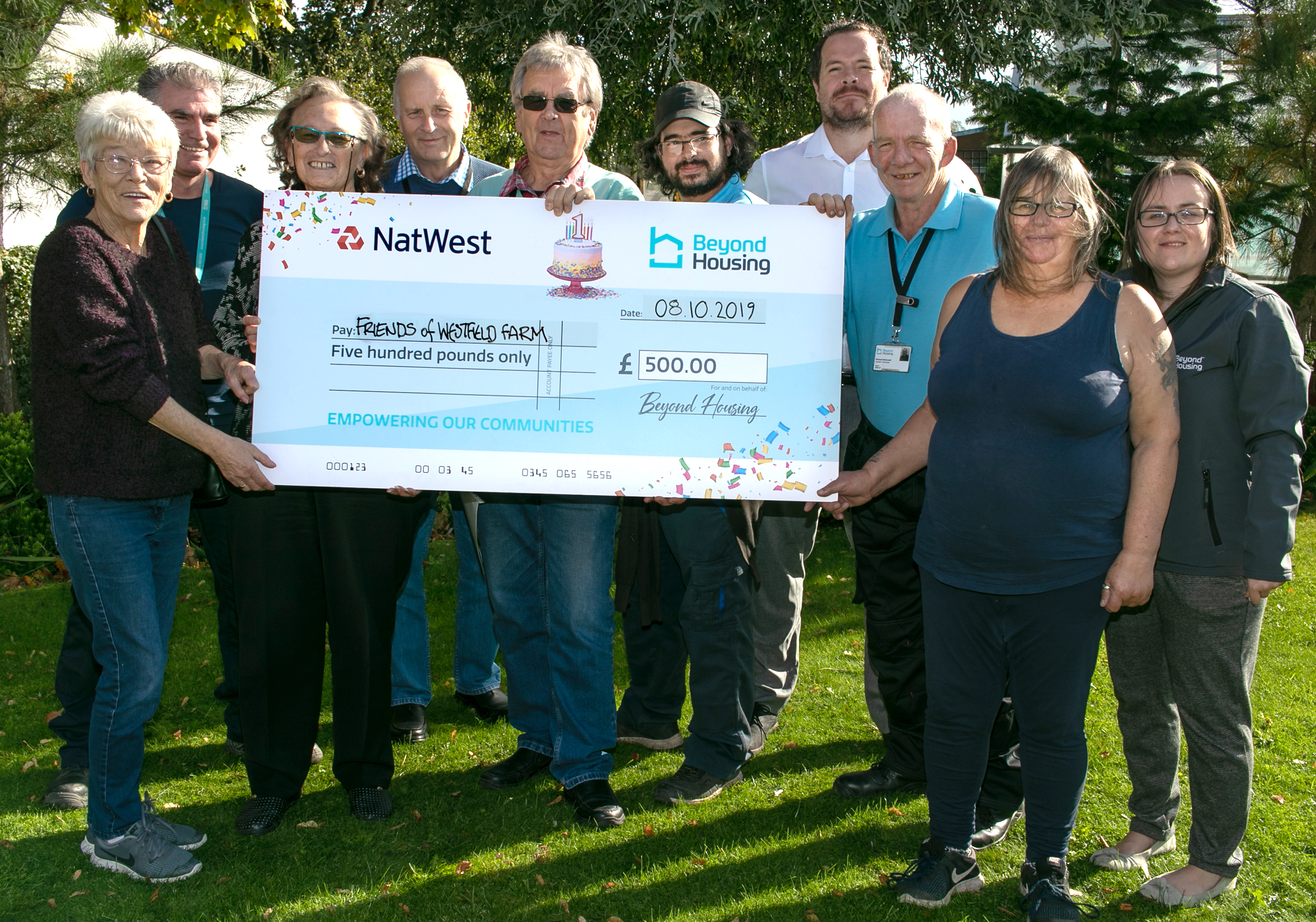 Charity Cheques Friends of Westfield Farm A ka