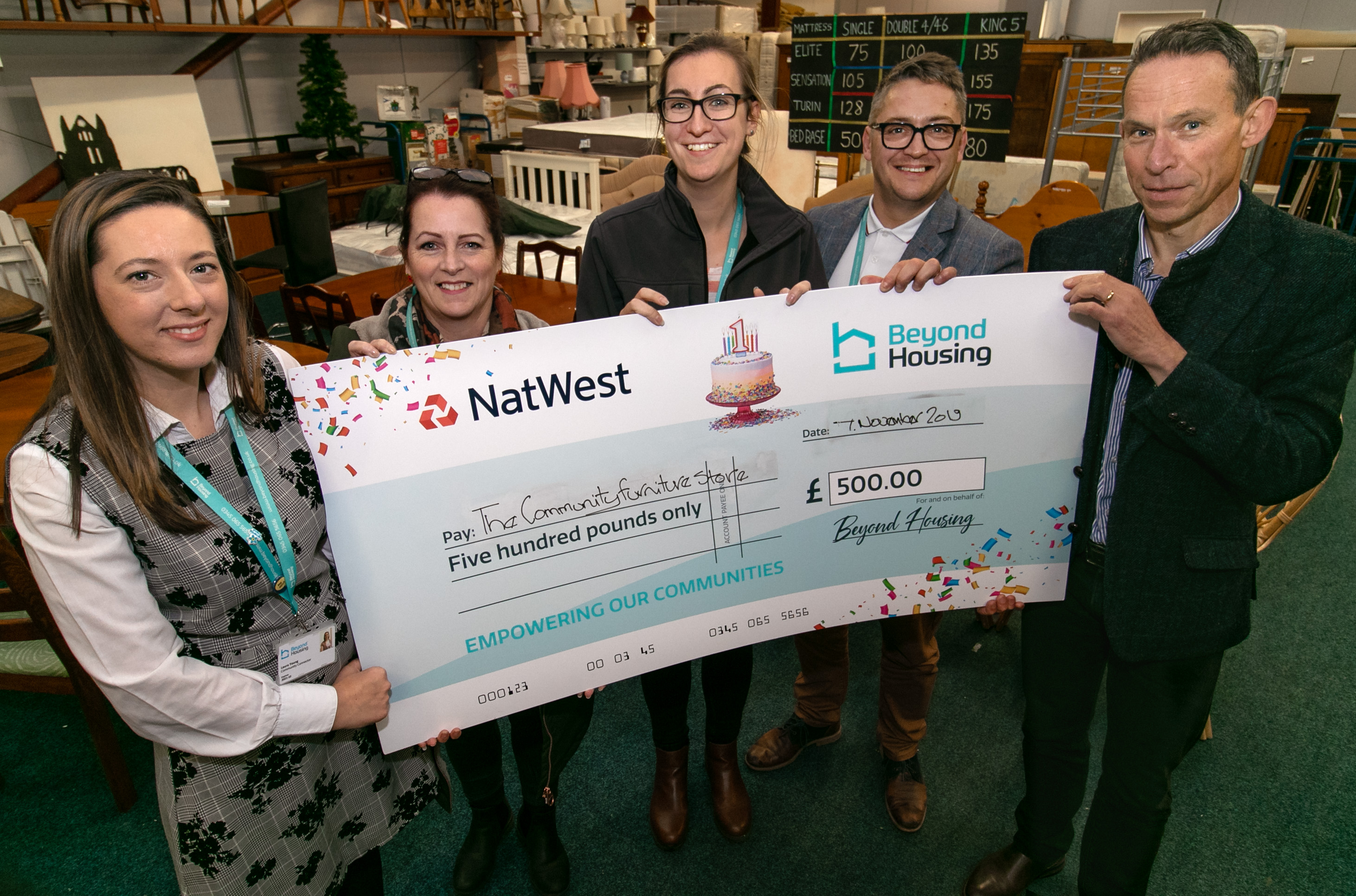 Charity cheques Community Furniture Store A ka