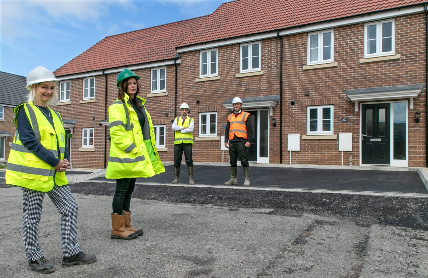 From left: Beyond Housing Development Manager Karen Howard, Assistant Project Manager Victoria Smith, Linden Homes Assistant Site Manager Terry Palmer, and Site Manager Gary Barker
