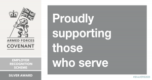 Armed forces covenant employer recognition scheme - silver award logo. Proudly supporting those who serve